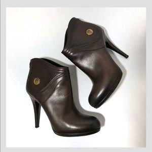 "Gucci ""Diana"" 206776 Chocolate Ankle Boots-7.5 B"